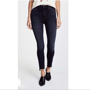 Mother The Stunner Zip Ankle Step Fray Black Jeans